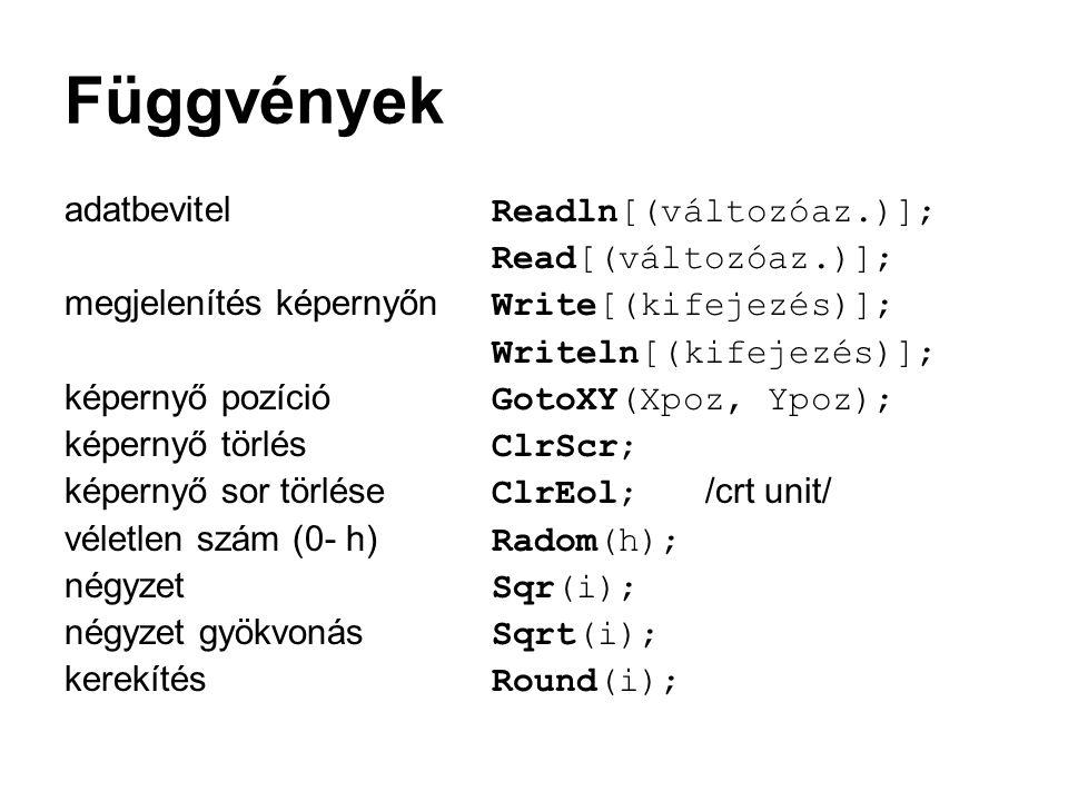 Függvények adatbevitel Readln[(változóaz.)]; Read[(változóaz.)];